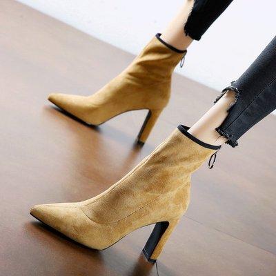 短靴 馬丁靴 高跟 韓版 婚鞋名媛百搭尖頭瘦瘦靴粗跟短靴冬新款歐美中筒靴馬丁靴高跟女靴
