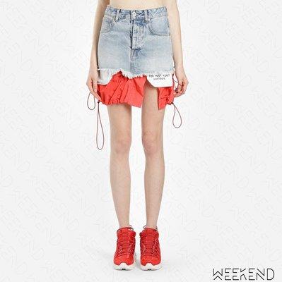 【WEEKEND】 UNRAVEL 異材質 拼接 假兩件 抽繩下擺 抽鬚 破壞 不修邊 牛仔 短裙 紅色 19春夏