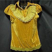 全新亮絨芥末黃短袖上衣
