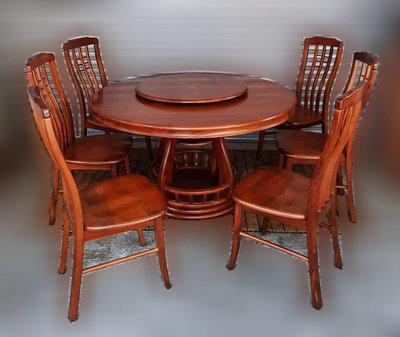 樂居二手家具 便宜2手傢俱拍賣 A1009GJJ 柚木色六人圓桌椅組 客廳家具 戶外休閒桌椅 洽談桌 麻將桌 會議桌新竹