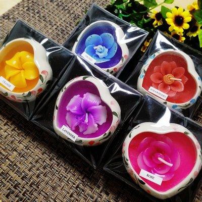 「還願佛牌」泰國進口 泰國 木盒 裝 迷你 陶瓷 香薰 蠟燭 心形 蠟燭(味道隨機發貨)