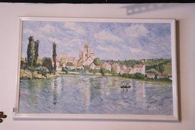 【卡卡頌 OMG歐洲跳蚤市場 / 西洋古董 】歐洲古董藝術河邊之美手繪簽名油畫 pa0055✬