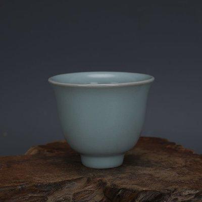 ㊣姥姥的寶藏㊣ 汝窯手工瓷青釉功夫茶杯酒杯景德鎮 古瓷器古玩古董收藏復古擺件