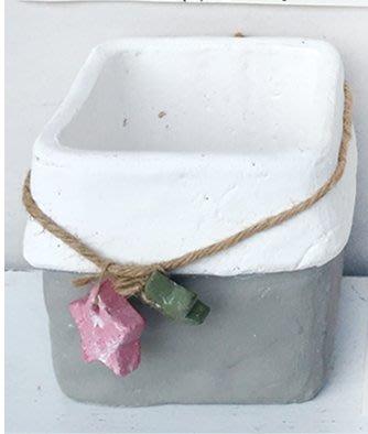 ~~尚盈家飾~~田園鄉村風 簡約綁繩花朵方花盆 花器 裝飾 裝潢擺飾 居家店面布置