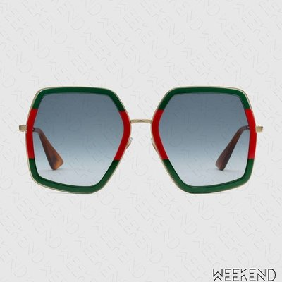 【WEEKEND】 GUCCI Oversized Octagon 太陽眼鏡 墨鏡 綠+紅色 470458