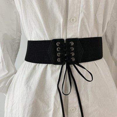 素色交叉綁帶暗扣束身寬版腰封腰帶 【UD014】
