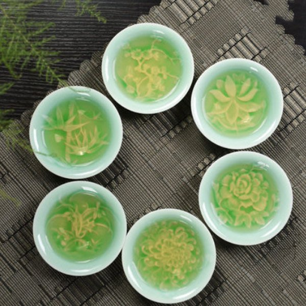 5Cgo【茗道】含稅會員有優惠 36716354603 陶瓷功夫茶具單品配件茶杯青瓷品茗杯梅蘭竹菊牡丹蓮花杯一組6個