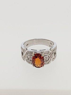 【益成當舖】流當品(已售出) 白K2.07克拉 天然無燒錳鋁榴石 鑽石戒 實物顏色很棒 特價出清