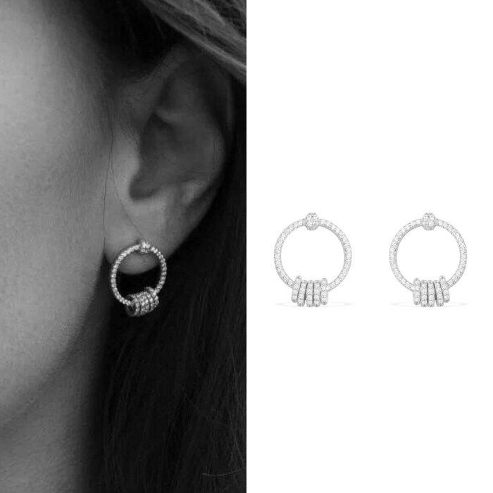 💎969、名媛風範高雅微鑲環扣耳環💎 正韓耳環 項鍊