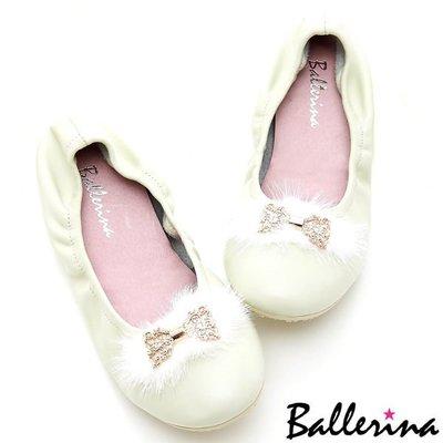 Ballerina-全真皮毛毛蝴蝶結娃娃鞋-杏【BD400114CM】
