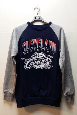 2015秋冬新款 NBA 美國職籃 騎士隊徽LOGO印花圓領雙色長袖刷毛厚棉T 深藍