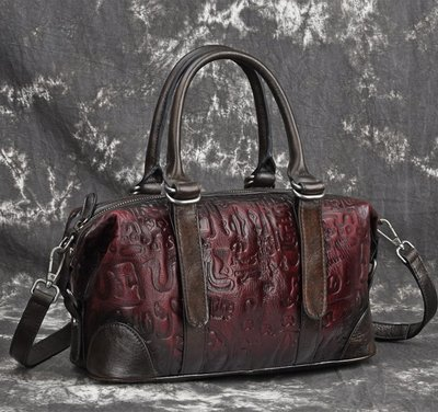 [包妳喜歡]新款復古手提包 頭層牛皮手...
