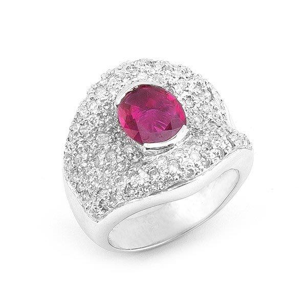 【JHT金宏總珠寶/GIA鑽石專賣】1.70ct天然紅寶鑽戒/材質:18K(R00009)
