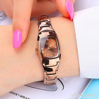 手錶女學生韓版簡約時尚潮流女士手錶防水鎢鋼色石英女錶腕錶