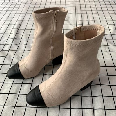 KillBeer:身為名媛的自傲之 歐美復古法式小香風撞色裸黑拼接皮革麂皮絨彈力立體瘦腿粗跟短靴092317