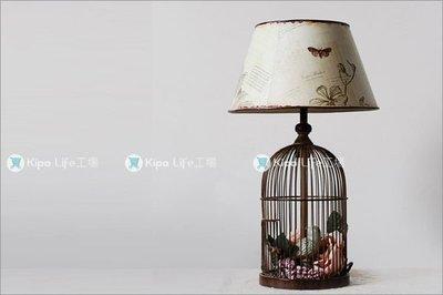 KIPO-中國風-全金屬鄉村鳥籠檯燈/籠中鳥花檯燈/設計時尚居家生活NDC005001A
