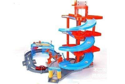【格倫雅】^停車場玩具 合金跑車汽車大樓軌道拼裝套裝男孩大玩具室內 軌道益22626[