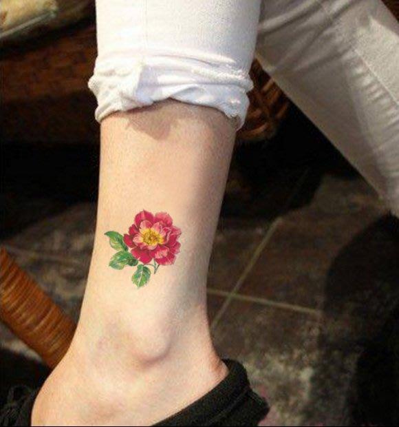 【萌古屋】帶葉花朵單圖337 - 男女防水韓風簡約紋身貼紙刺青貼紙K13