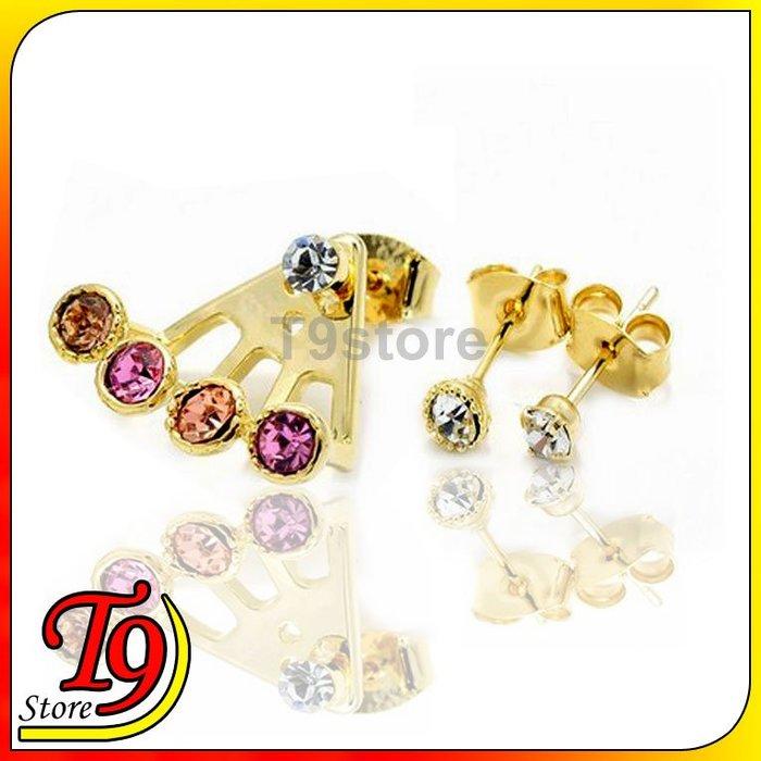 【T9store】韓國製 扇形、圓形、輕石3件穿孔耳環
