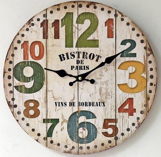zakka雜貨 Vintage歐式鄉村風 巴黎小酒館 玩色馬卡龍COLOR 掛鐘 時鐘 圓鐘 造型鐘 民宿咖啡廳酒吧擺飾