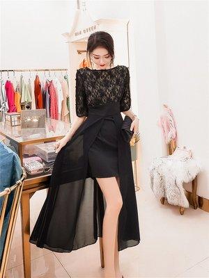 連身裙 套裝 夏裝 性感潮流黑色開叉蕾絲收腰顯瘦氣質連衣裙2019年夏裝新款流行裙子