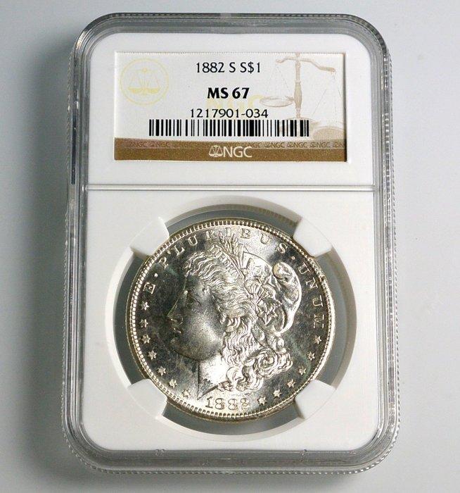 評級幣 1882年S記 美國摩根 1 DOLLAR 銀幣 鑑定幣 NGC MS67