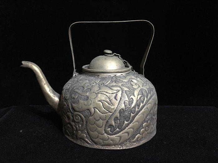 早期收藏-手工藏銀錫合銀製品-擺件觀賞壺-鳳凰
