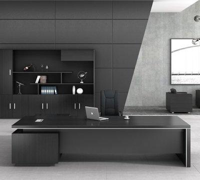 【名品家具】辦公桌(160-260公分)老板桌總裁桌 簡約現代大氣單人大班台桌椅 免運