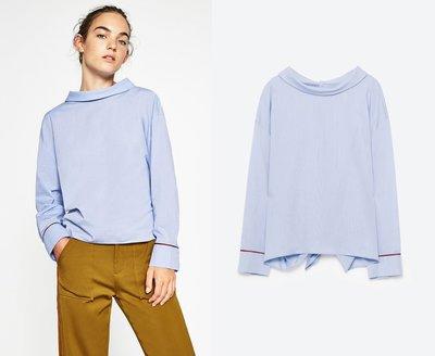 全新 ZARA 專櫃正品 當季款 天藍色 背部紐扣設計長袖上衣 兩穿式長袖襯衫
