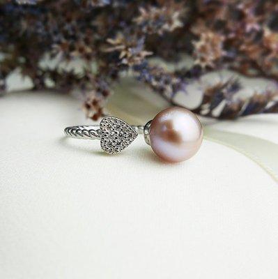 925純銀 戀愛鎖鍊 粉紫色淡水珍珠綴鑽麻花開口戒指 晶鑽CZ水鑽 氣質浪漫