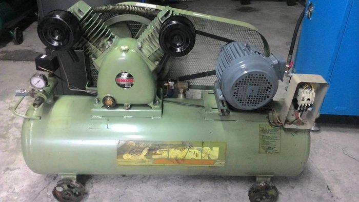 中古天鵝牌5HP空壓機內外皆整理聲音跟新的一樣喔(收購.買賣.維修.保養空壓機,請見關於我)