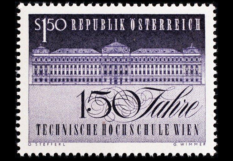 奧地利郵票---1965年---發行技術大學建築---雕刻版--- 1 全---F252---風光名勝專題