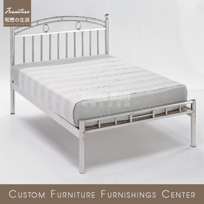HOME MALL~白鐵雙人5尺鐵床 $6000~(雙北市免運費)7S