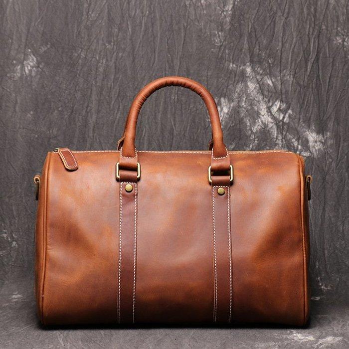 旅行袋 真皮 手提包-大容量短途出遊肩背男女包包73xv24[獨家進口][米蘭精品]