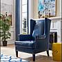 美式鄉村風 藍色復古皮革鉚釘單人沙發椅主人...