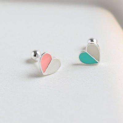 丸子雜貨鋪 s925純銀耳骨釘女韓國簡約愛心耳釘 粉藍個性螺絲防掉耳飾夜店潮