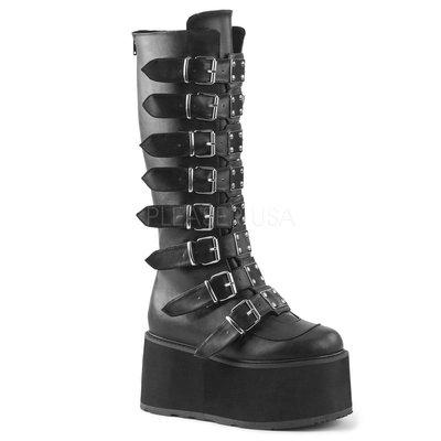 Shoes InStyle《三吋》美國品牌 DEMONIA 原廠正品龐克歌德金屬板厚底楔型及膝長馬靴 有大尺碼『黑色』