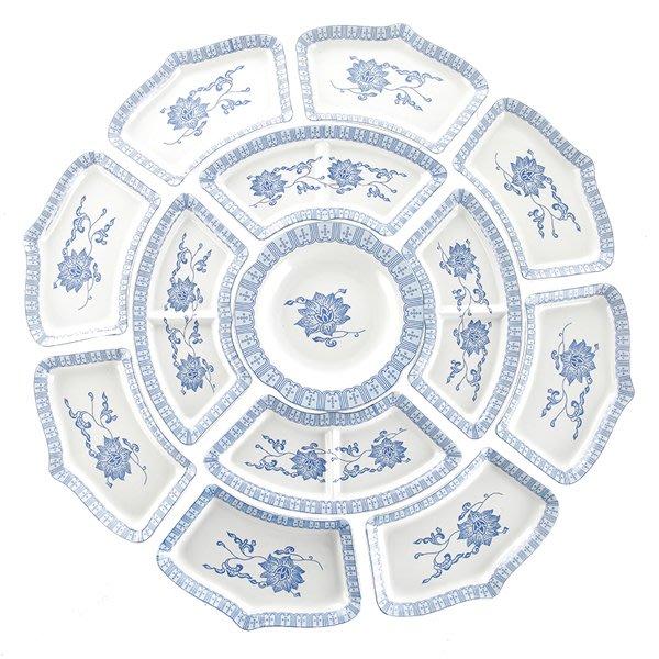 5Cgo【茗道】抖音創意陶瓷拼盤餐具組合菜盤子套裝圓桌團圓餐具套圓形扇形日式枝蓮蓮座拼盤13一組586182442455