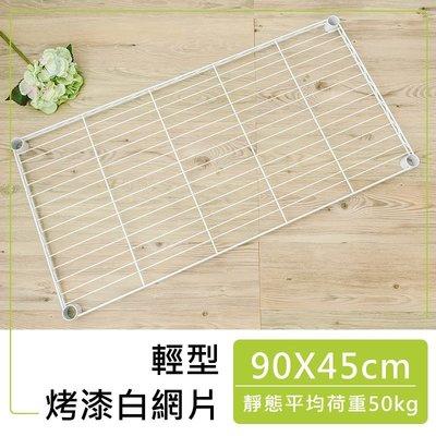 【輕型 90x45 烤白網片含夾片】單層荷重50kg【鐵架小舖】鐵力士架 波浪架 層架 架 鐵架衣櫥 置物架