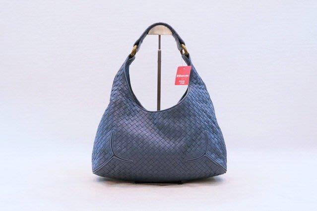【遠麗】台北大安店~A8981 Bottega Veneta灰藍編織古銅編織環肩背和尚包 正品/真品