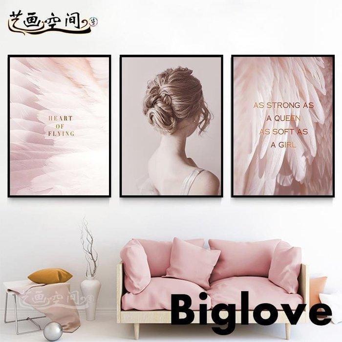 房間臥室墻面裝飾掛畫女生寢室宿舍女裝店壁畫粉色羽毛裝飾畫溫馨