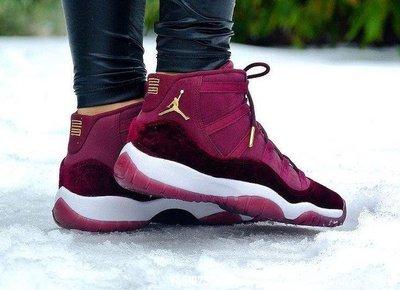 """Nike Air Jordan 11 GS """"Heiress"""" 852625-650 酒紅絲絨 女時尚休閒慢跑鞋"""