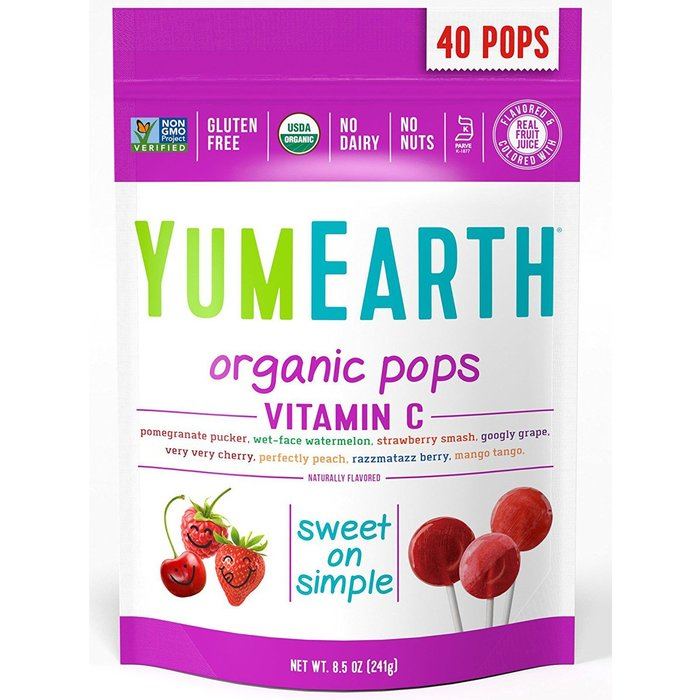 【 YumEarth 】有機棒棒糖,維生素C, 綜合口味 八種混合,50 支(241克)【 純素系列商品 Vegan 】