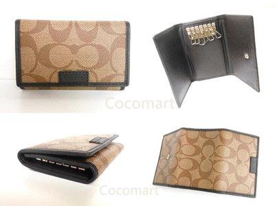 超值優惠商品【Coach 68665鑰匙包】PVC/皮革滾邊鑰匙包內含2卡夾層~附美收據、紙盒~現貨在台