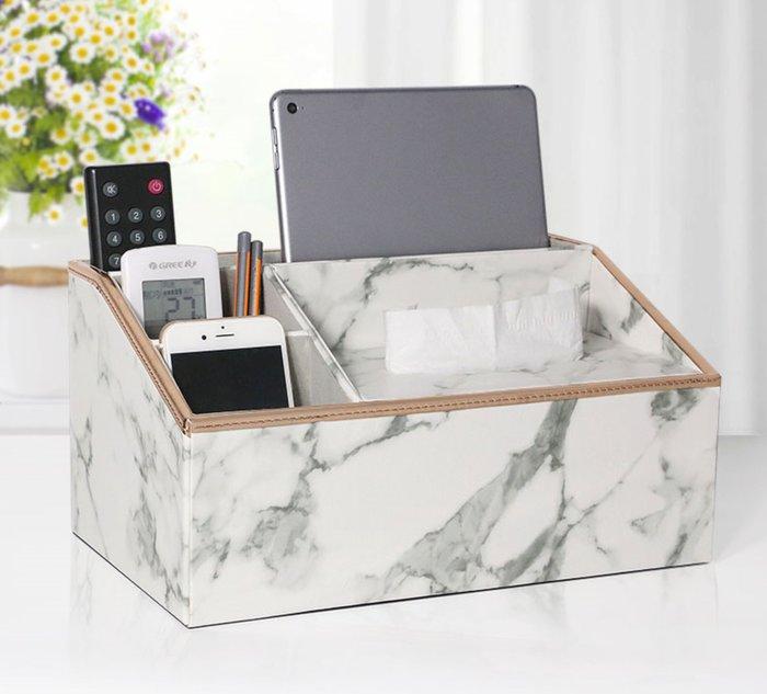 北歐風 創意大理石紋皮革質感面紙盒 遙控器收納 金屬包邊 簡約 居家空間佈置 |悠飾生活|