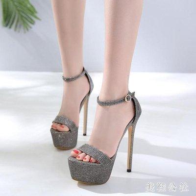 性感恨天高16Cm公分女鞋超高跟細跟防水臺夜店涼鞋40碼 JA4317