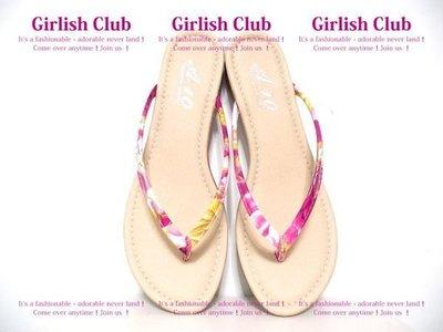 【Girlish Club】花卉T字夾腳人字拖鞋40號(25)桃(m410)39適穿havaianas小香一九一元起標