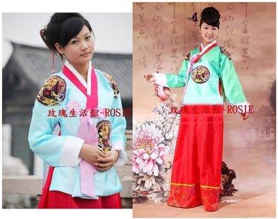 【玫瑰生活館】~ 傳統韓服套裝:大長今裝,韓服,宮廷服,表演服:均碼One size, 綠,水藍