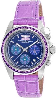 展示品 Invicta 18658 Speedway Chronograph 41 Purple Amethysts Accented GMT Wom