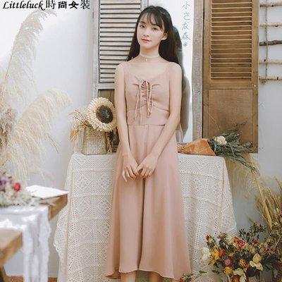 Littleluck~女裝連身裙子洋裝春夏裝仙女式很仙的法國小眾超仙甜美森系復古山本吊帶裙